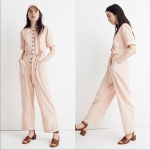 New Madewell Top-Stitched Coverall Coral Jumpsuit